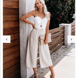 VICI White Linen Jumpsuit Romper